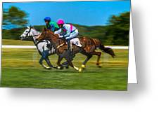 Plastic Wrapped Steeplechase Greeting Card by Robert L Jackson
