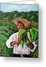 Platano Man Greeting Card by Luis F Rodriguez