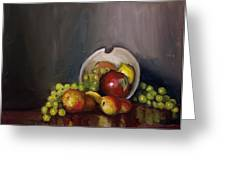 Plate With Fruit Greeting Card by Nicolas Bouteneff
