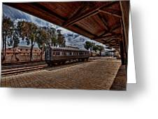 platform view of the first railway station of Tel Aviv Greeting Card by Ron Shoshani