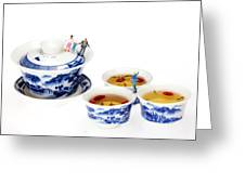 Playing Among Blue-and-white Porcelain Little People On Food Greeting Card by Paul Ge