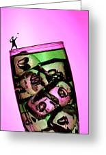Playing Tennis On A Cup Of Lemonade Little People On Food Greeting Card by Paul Ge