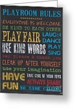 Playroom Rules Greeting Card by Debbie DeWitt