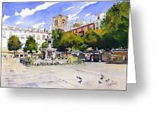 Plaza Bib Rambla Greeting Card by Margaret Merry