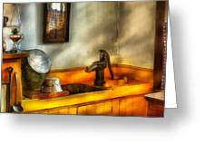 Plumber - The Wash Basin Greeting Card by Mike Savad