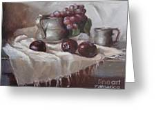Plums Grapes And Pewter Greeting Card by Viktoria K Majestic