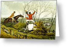 Plunging Through The Hedge From Qualified Horses And Unqualified Riders Greeting Card by Henry Thomas Alken