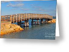 Plymouth Harbor Breakwater Greeting Card by Catherine Reusch  Daley