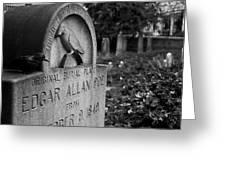 Poe's Original Grave Greeting Card by Jennifer Lyon
