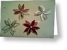 Poinsettia Christmas Tree Ornaments Greeting Card by Liz Shepard