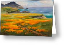 Point Lobos Poppies Greeting Card by Karin  Leonard