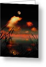 Pointing At The Moon Greeting Card by Mal Bray