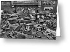 Police - Behind the Front Desk Black and White Greeting Card by Lee Dos Santos