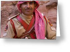 Policeman in Petra Jordan Greeting Card by David Smith