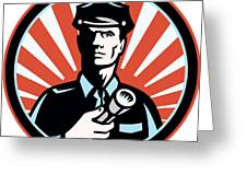 Policeman Security Guard With Flashlight Retro Greeting Card by Aloysius Patrimonio