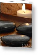 Polished Stones In A Spa Greeting Card by Olivier Le Queinec