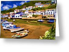 Polperro At Low Tide Greeting Card by David Smith