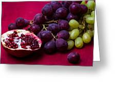 Pomegranate And Green And Red Grapes Greeting Card by Alexander Senin