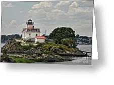 Pomham Rocks Lighthouse Greeting Card by Nancy  de Flon