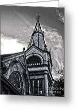 Pomona Seventh Day Adventist Church In Black And White Greeting Card by Gregory Dyer