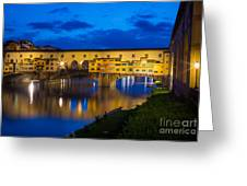 Ponte Vecchio Reflection Greeting Card by Inge Johnsson