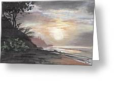 Pools Beach Sunset Greeting Card by Sarah Lynch