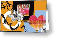Pop Art Peace And Love Ny Urban Collage Greeting Card by Anahi Decanio