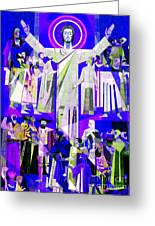 Pop Art Touchdown Jesus Mural At N D U Main Library Greeting Card by Tina M Wenger