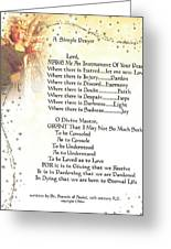 Pope Francis St. Francis Simple Prayer Angel Of Peace Greeting Card by Desiderata Gallery