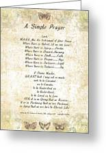 Pope Francis St. Francis Simple Prayer Butterfly Garden Greeting Card by Desiderata Gallery
