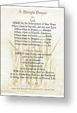 Pope Francis St. Francis Simple Prayer Lilly Of The Valley Greeting Card by Desiderata Gallery