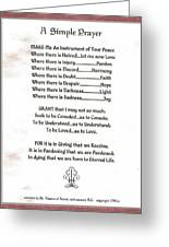 Pope Francis St. Francis Simple Prayer Prayer For Peace Greeting Card by Desiderata Gallery
