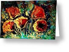 Poppies In Gold Greeting Card by Zaira Dzhaubaeva