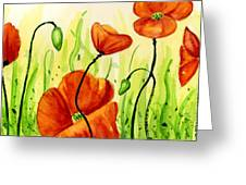 Poppy Field Greeting Card by Annie Troe