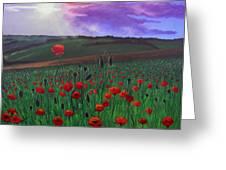 Poppy Field Greeting Card by Janet Greer Sammons