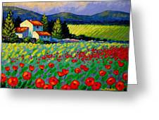 Poppy Field - Provence Greeting Card by John  Nolan