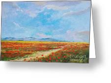 Poppy Field Greeting Card by Sinisa Saratlic