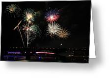 Pops On The River Fireworks Greeting Card by Robert Camp