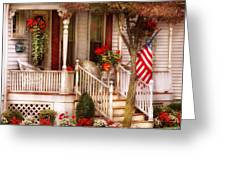 Porch - Americana Greeting Card by Mike Savad