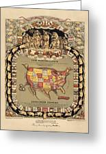 Pork Map Of The United States From 1876 Greeting Card by Blue Monocle