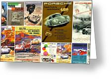 Porsche Racing Posters Collage Greeting Card by Don Struke