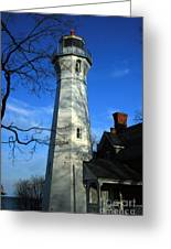 Port Sanilac Lighthouse Greeting Card by Kathy DesJardins