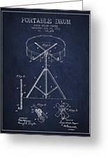 Portable Drum Patent Drawing From 1903 - Blue Greeting Card by Aged Pixel