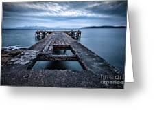 Portencross Pier  And Views To Arran Greeting Card by John Farnan