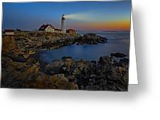 Portland Head Light Sunrise Greeting Card by Susan Candelario