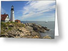 Portland Head Lighthouse Panoramic Greeting Card by Mike McGlothlen