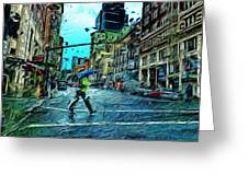 Portland In The Rain Greeting Card by Cary Shapiro
