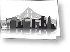 Portland Oregon Skyline 2 Greeting Card by Daniel Hagerman