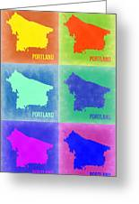 Portland Pop Art Map 3 Greeting Card by Naxart Studio