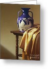 Portland Vase With Cloth Greeting Card by Barbara Groff